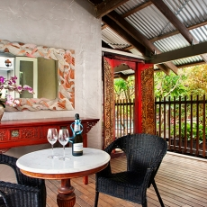 Intimate alfresco area off kitchen, 22 McAnally Drive Sunshine Beach